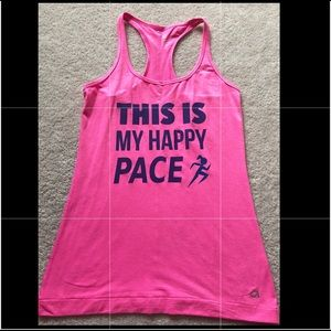 """Gap Fit pink custom tank top """"happy pace"""" size XS"""